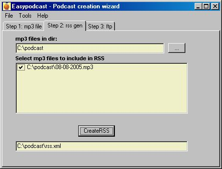 Step 2: Automatic RSS creator based on selected mp3 files